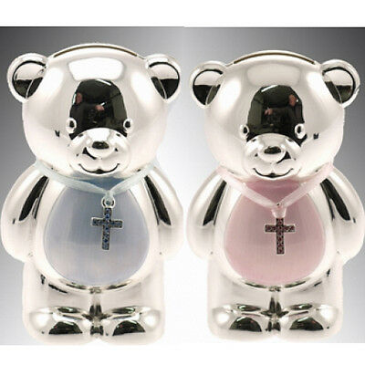 Silver Plated Christening Money Box Savings Cash Baby Boy Girl Gift Piggy Bank
