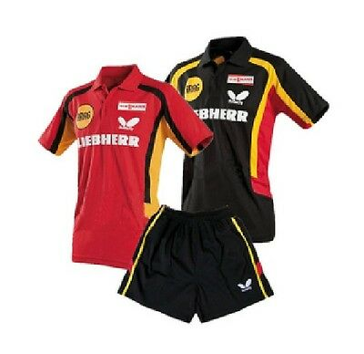 2012 New butterfly Mens Badminton / Tennis Polo Shirt+shorts colour:red/black