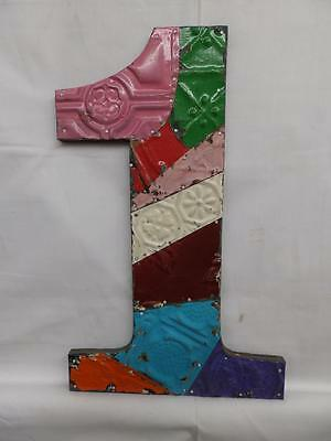 "Tin Ceiling Wrapped 16"" Number ""1"" Wall Hanging Patchwork Metal Mosaic 3017-14"