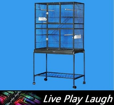 Brand New Large Stand-Alone Parrot Aviary Budgie Canary Bird Cage on Wheels