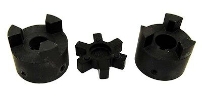 """3/4"""" to 7/8"""" L100 Flexible 3-Piece L-Jaw Coupling Set & NBR Rubber Spider"""