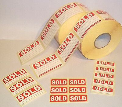 Bright Red SOLD Stickers Tags Labels / Sticky Labels Removable Adhesive 4 Sizes