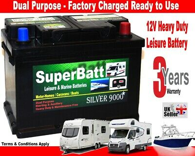 12V 75AH SuperBatt LH75 Deep Cycle Leisure Battery Caravan Motorhome Marine Boat