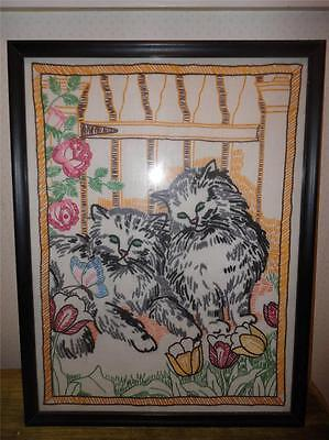 Large Framed Cross Stitch CAT Embroidered Sampler Picture Kittens w Tulips  CUTE