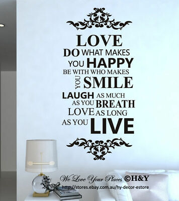 Love Laugh Live Wall Art Quote Vinyl Wall Stickers Decal Mural Home Decor Gifts
