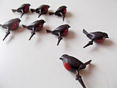 8 X  Dark Brown Robin On Pick Christmas Cake Topper ,decoration Plastic New