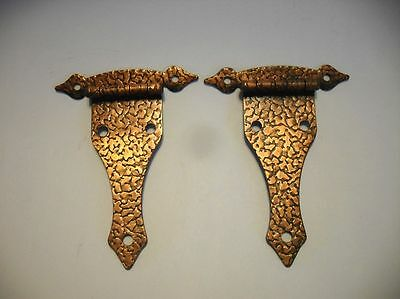 Vintage Hammered STRAP HINGES Antique Copper Plated Rustic Iron for Flush Doors