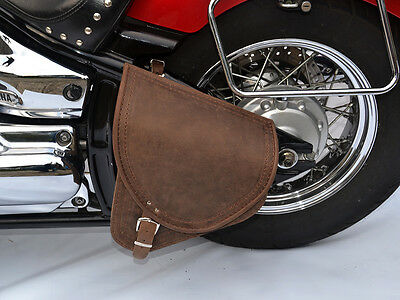 Brown Leather Swingarm Single Pannier Saddle Bag Harley Davidson Softail