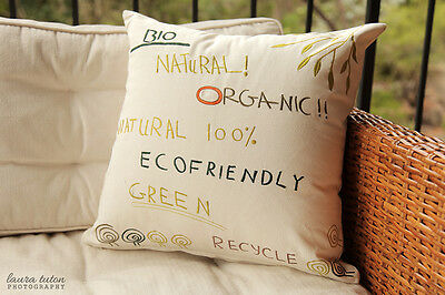 Brand New Calico Organic Cushion with Green Earthy Toned Words Embroidered