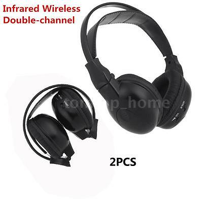 2Pcs Infrared Wireless Headphone Headset Ir For Stereo Car Players Dvd 2-Channel