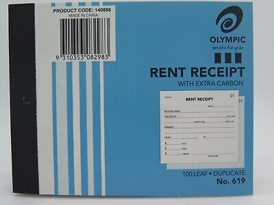 Olympic #619 Rent Receipt Book Duplicate 125x100mm  140886
