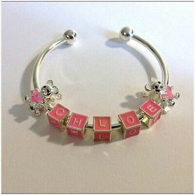 Girls Childs SP Personalised Name Cuff Bangle Bracelet Teddy Bear Heart Charms