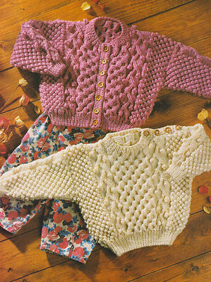 "Aran Traditional Textured Baby Sweater & Cardigan 18"" - 28""  Knitting Pattern"