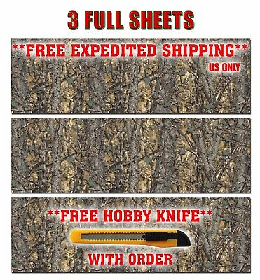 "3 CAMOUFLAGE TRUCK WRAP VINYL DECAL 48""x15"" 3M CAMO TREE PRINT DUCK CAMO ATV"