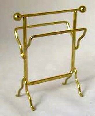 Gold Towel Rail, Dolls House Miniature, Bathroom Accessory 1/12 scale. Towels