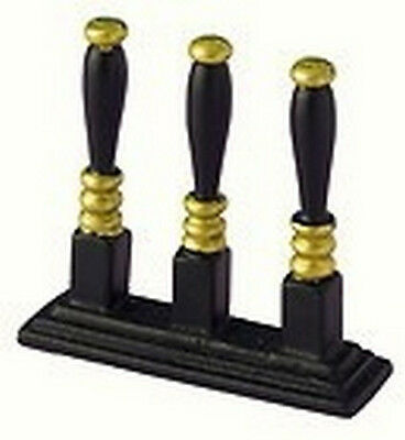 Black / Gold Beer Pumps, Dolls House Miniature, Public House, Bar, Pub