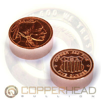 1 x 5oz Pure Copper Coin Indian Head Buffalo Nickel Rounds Bullion 10-20-100