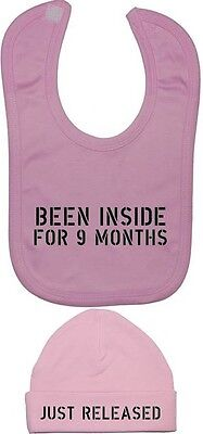 Been Inside For 9 Months Baby Feeding Bib & Beanie Hat/Cap NB-12m Funny Gift
