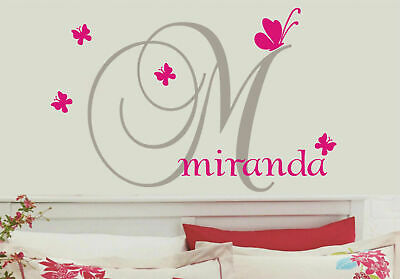 Custom Personalised Name Butterflies Wall Stickers Kids Nursery Vinyl Wall Decor