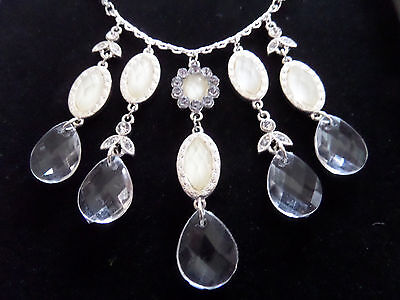 GOTHIC VICTORIAN STYLE DROP VAMPIRE CREAM GOLD & CLEAR TEARDROP NECKLACE new