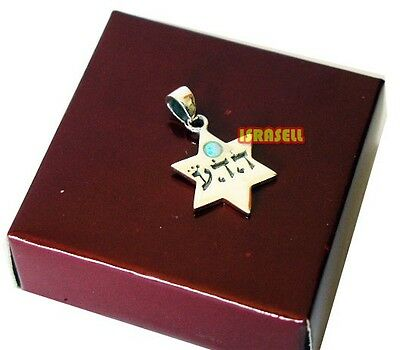 925 Silver KABBALAH UNCONDITIONAL LOVE STAR OF DAVID PENDANT WITH BLUE OPAL