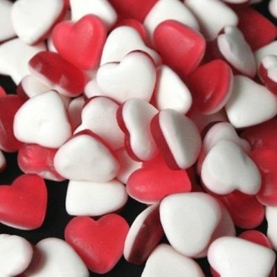 Haribo Red White Jelly Heart Throbs Love Hearts Sweets Wedding Party 100g - 3kg