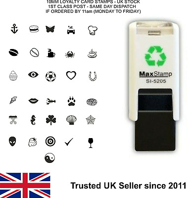 Loyalty Card Stamp 10mm Self Inking Rubber Small Pocket Size FREE 1ST CLASS POST