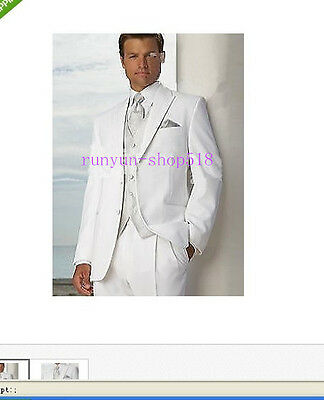 Custom-made White Groom Tuxedos Wedding Suits Special Occasion Business Suit