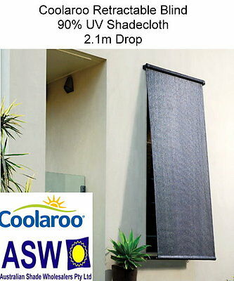 1.8m wide Coolaroo RETRACTABLE BLIND 2.1m drop MONTECITO 90% UV Shade CRB180M