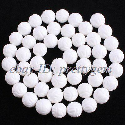 """8mm Natural Round Carved Lotus White Shell Mop Gemstone Beads Spacer Strand 15"""""""