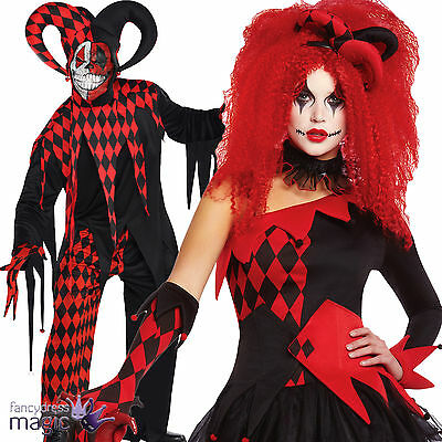 Red Scary Harlequin Circus Clown Jester Jesterina Fancy Dress Halloween Costume