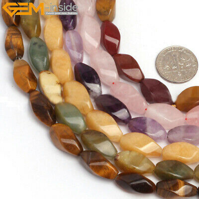 """8x16mm Twist Natural Stone Beads For Jewelry Making 15"""" Gemstone Looose Beads"""