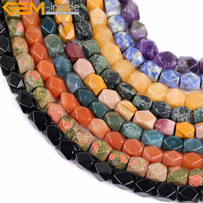 """Natural Stone Faceted Jewelry Making 15"""" 8-9x11-12mm Gemstone Beads of Cambay"""