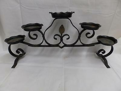 Vintage Iron Candle Plant Stand Table Top Candelabra Old Steampunk 3056-14