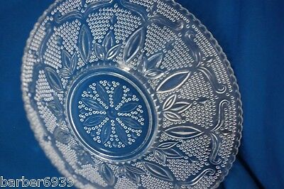 "VINTAGE FEDERAL GLASS CO. HERITAGE BEADED CLEAR GLASS  LARGE  10"" BOWL"