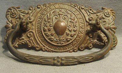 Antique Brass & Steel Dresser Drawer Pull Hardware Restoration Authentic HW-057