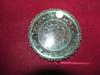 Vintage Green Boston Pops Cup Plate NOS, Pairpoint Glass, Sagamore, Mass.