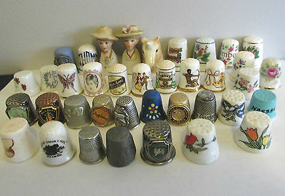 VINTAGE 38 THIMBLES 10 METAL I WOOD 24 POTTERY DIANA MUNCHEN WORLDS FAIR HEADS