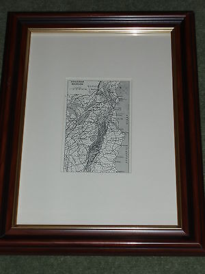 Print circa 100 yrs old Map of the Appalachian Mountains