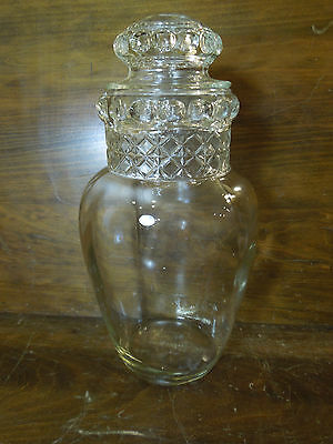 Vintage Large  Apothecary Candy Pressed Glass Jar w/ Lid