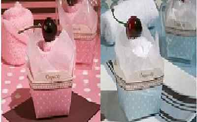 wedding baby shower cupcake small towel table favour decoration pink or blue