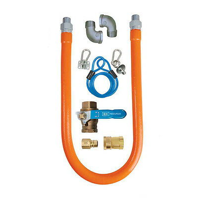 "Commercial Kitchen Gas Hose Line Safety System Kit 48"" x 3/4"""