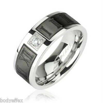 Mens Womens Stainless Steel Silver Black Engraved Roman Numerals Band Ring W/ Cz