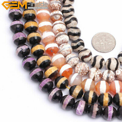 10mm Round Faceted Striped Agate Gemstone Beads Circle For Jewelry Making 15""