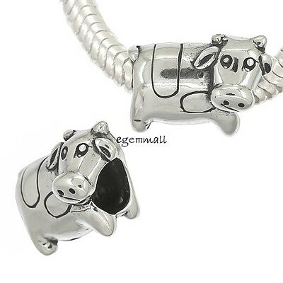 1x Antique Sterling Silver Cow European Charm Bead #94317