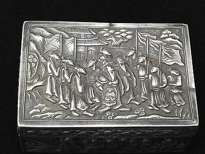 Antique China Chinese Snuff Silver Box 19 Century Engraved Handmade Silverbar55