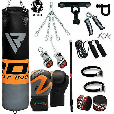 RDX Punching Bag Boxing Gloves MMA UnFilled Kick Martial Fight Punch Set
