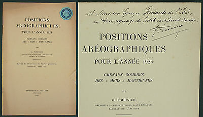 POSITIONS AREOGRAPHIQUES 1924 CHENAUX SOMBRES MERS MARTIENNES - Astronomie Mars