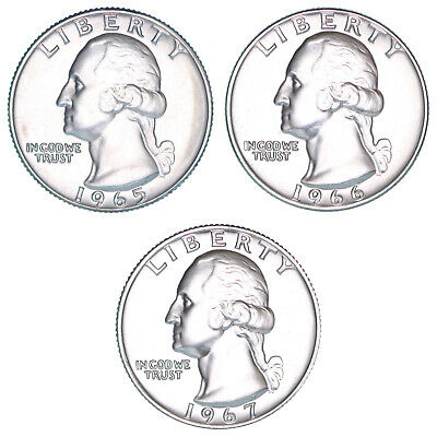 1965 1966 1967 SMS Washington Quarter Gem Run 3 Gem Special Mint Set US Coins
