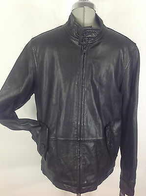 Tommy Hilfiger Men's New WT Black Glove touch Lambskin Motorcycle Leather Jacket